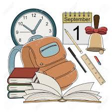 vector vector cartoon style color icons clock calendar bell pencil pen eraser ruler bag books open book