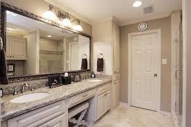 double sink vanity mirror. bathroom has a double sink vanity with knee space fully framed mirror u