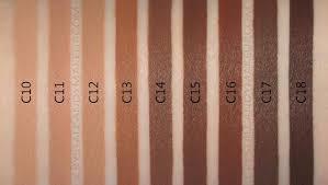 makeup revolution conceal define concealer shades swatches mac c10 c11 c12 c13 c14 c15 c16 c17 c18 nw45 nc55 nw50