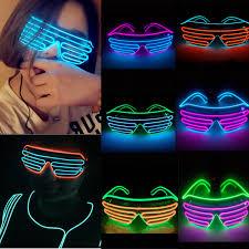 Neon Light Glasses Smart Remote Control El Glasses El Wire Fashion Neon Led Light Up Shutter Shaped Glasses Rave Dj Bright Costume Party