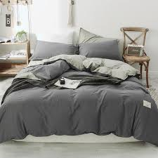 grey bedding washed cotton bedding set quilt cover set queen size sheet solid bedding teen bed sheets king size duvet cover beddings red bedding from