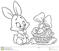 Easter Chick Coloring Pages Happy Bunny Cartoon Illustration Stock