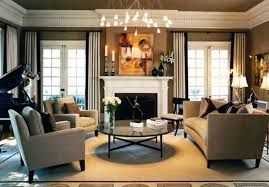 traditional living room ideas with fireplace. Interior:Attractive Traditional Living Room Design Ideas With Round Leather Ottoman And Wooden Armchairs Also Fireplace O