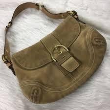 COACH- Tan suede hobo shoulder bag medium