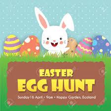 Easter Egg Hunt Invitation Template Design Cute Cartoon Rabbit