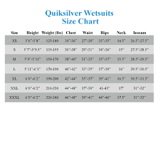 Quiksilver Jeans Size Chart 43 Expository Quiksilver Sizing Chart