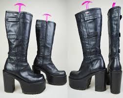 womens boots 90s grunge goth black leather el dantes chunky wooden heel velcro straps knee high platform