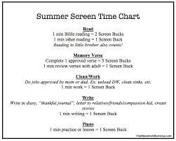 Summer Screen Time Reward Chart The Meanest Momma