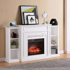 binghamton 72 5 in w bookcase infrared electric fireplace