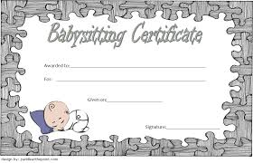 Babysitting Certificate Template 2 Paddle At The Point