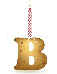 Letter B Happy Birthday Candle Cake Stock Vector Colourbox