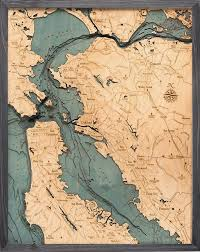 San Francisco Bay Area 3 D Nautical Wood Chart 24 5 X 31 Driftwood Grey Frame