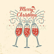 merry retro template with champagne glasses vector ilration xmas design for congratulation cards invitations banners and flyers