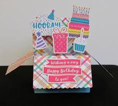 Girls Pop Up Box Card Happy Birthday Card Birthday Cake Etsy