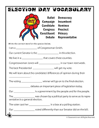 Election Day Vocabulary Worksheet - Woo! Jr. Kids Activities