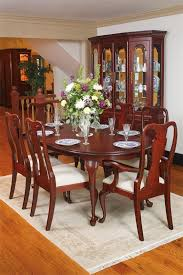 Queen Anne Cherry Wood Dining Table Oval And With Regard To Room Set Plan 1