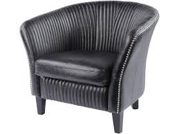 soho black leather ribbed detailing chair