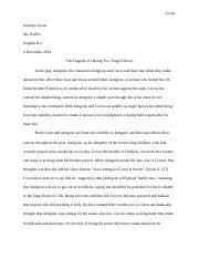 antigone essay prep antigone in class essay prep  4 pages zach s antigone essay