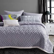 Grey Stitching Bedspread Solid Color Pillow Case Single Queen ... & Grey Stitching Bedspread Solid Color Pillow Case Single Queen Summer Quilted  Blanket Bed Cover Thin Comforter Adamdwight.com