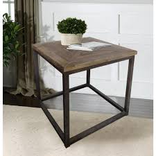 industrial reclaimed wood square end tabledmt  the home depot