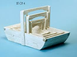 wooden trug basket whitewash set of 4