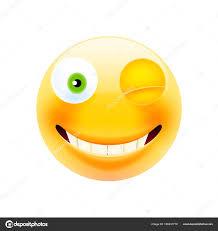 Wink Face Emoji Happy Emoticon Winking Emoticon Smile Icon Isolated