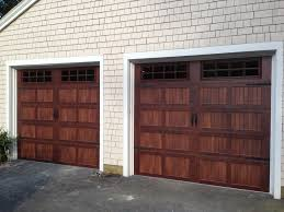 faux wood garage doors. @C.H.I. Overhead Doors Model 5216 Faux Wood Steel Carriage House Style Garage  In Mahogany Accents Woodtone With Stockton Glass \u0026 Flat Black Spade Faux Wood Garage Doors