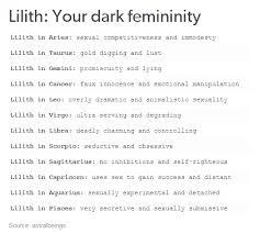 Lilith Your Dark Femininity Zodiac Zodiac Signs