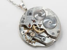 steampunk necklace silver pocket watch movement gold brass gears ruby jewels uni mens womens pendant steampunk