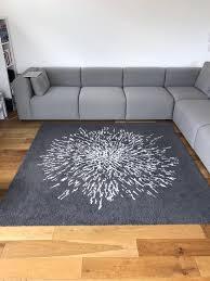 ikea grey white square rug 200cm x 200cm