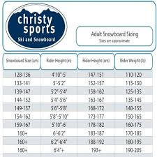 Water Ski Size Chart 24 Paradigmatic Never Summer Board Size Chart