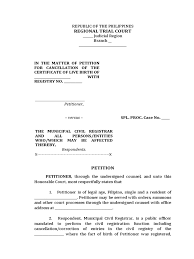 Sample Petition For Cancellation Of Certificate Of Live Birth
