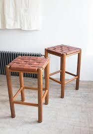 woven leather bar stools pair
