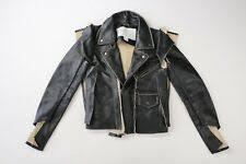 maison martin margiela x hm h m black motorcycle leather jacket size 6