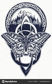 Keltský Uzel Butterfly Tetování Hory Les Symbol Cesty Symetrie