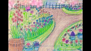 Vẽ tranh vườn hoa nhà em/ Vẽ vườn hoa xuân đơn giãn/How to draw flower  garden - YouTube