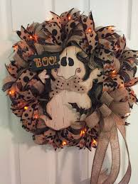 Halloween Wreath Lighted Halloween Wreath Ghost Wreath