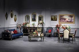 Casa Padrino Luxus Barock Wohnzimmer Esszimmer Set Blau Schwarz Gold Barockmöbel Ceres Webshop