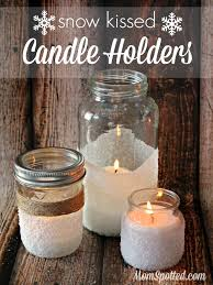 How to Make Easy Decorative Snow Kissed Candle Holders {DIY Mason Jar Snowy  Winter Craft