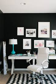 colorful feminine office furniture. Chic Feminine Office! White Framed Photographs And Brightly Colored Accents Pop Off The Black Walls Colorful Office Furniture U
