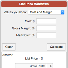 Markup Multiplier Chart List Price Markdown Calculator
