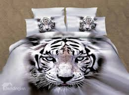 57 white tiger 3d printed polyester 4 piece bedding sets