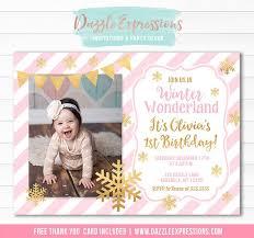 Snowflake Birthday Invitations Printable Pink And Gold Winter Wonderland Birthday