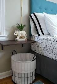Wall Mounted Bedside Table And A Basket Underneath