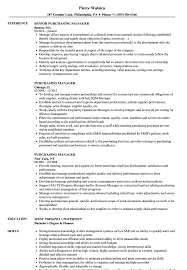 Purchasing Manager Resume Samples Velvet Jobs