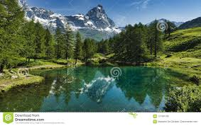 Valley Of Lights In Italy The Blue Lake And The Matterhorn Stock Image Image Of