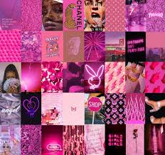 neon pink colors wall collage kit