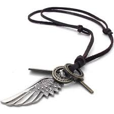 mendino men s alloy leather pendant necklace angel wing feather cross adjule
