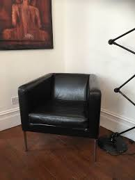 ikea klappsta black leather armchair 15 collect only london se23