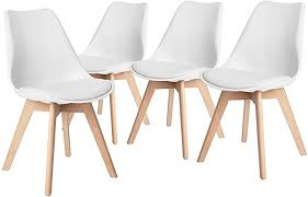HOMY CASA Set of <b>4</b> Scandinavian <b>Dining Chairs</b> Set Shell Seat ...